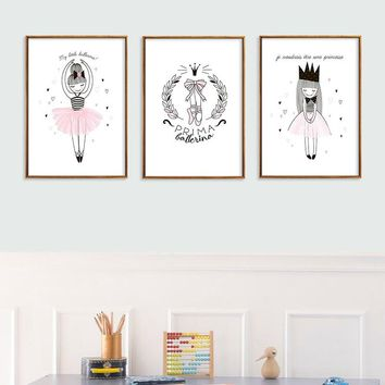 Pink Ballerina Girl Canvas Painting Nordic Wall Art Poster Picture Home Decor Children Bedroom Living Room Home Decor Poster
