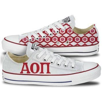 Alpha Omicron Pi Converse Low Top Red Pattern