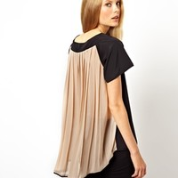 ASOS Top with Panel Detail and Pleated Drape Back
