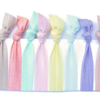 Pastel Hair Ties (8) Cloth Hair Tie Bracelets for Girls - Ribbon Hair Band Set - Elastic Ponytail Holders - Little Girl Birthday Gift