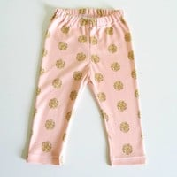 Pink With Gold Dots Leggings