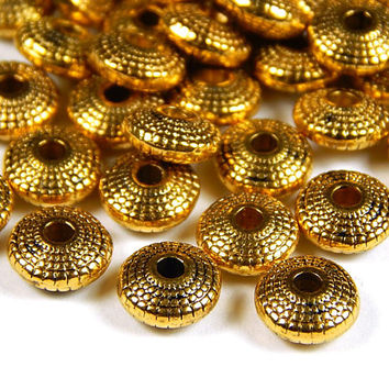 25 Pcs - 8x4mm Gold Tone Spacer Beads - Saucer Beads - Disc Spacers - Metal Spacer Beads - Jewelry Supplies