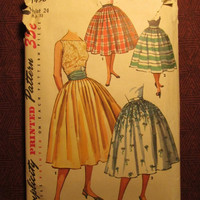 SALE Complete 1950's Simplicity Sewing pattern, 1490! Waist 24 Hip 33 Small/Women's/Misses/Juniors/Full Flared Skirts/Cummerbund/Simple To M