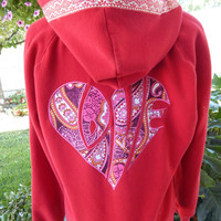 Red LoVe Heart Upcycled Zip Up Hoodie Vintage Flower Trim OOAK Size L Patchwork  Hippie clothes, boho chic, zip up jacket festival