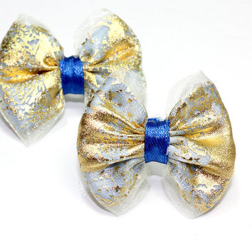 Blue and Gold Dog Bow. Gold Organza Ribbon and Baby Blue Satin Ribbon Tied with Dark Blue Shiney Ribbon. Groomer Bands or French Barrette