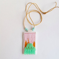 Embroidered pendant necklace abstract light pink and orange with mint green beads on long gold leather cord Winter trends An Astrid Endeavor