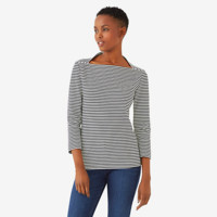 Kate Spade Saturday Striped 3/4 Sleeve Slip Neck Tee In Ponte