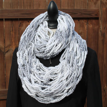 Woman Arm Knit Scarf, Marble Scarf,  Neck-warmer, Infinity Scarf, Marble Chunky Cowl, Marble Knit Scarf