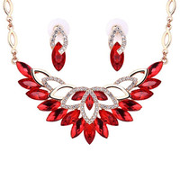 Red Rhinestone Necklace and Earrings
