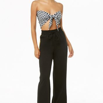 Checkered Tie-Front Tube Top