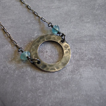Oxidized Hammered Circle Link Sterling Silver Necklace with Fluorite, Modern, Urban