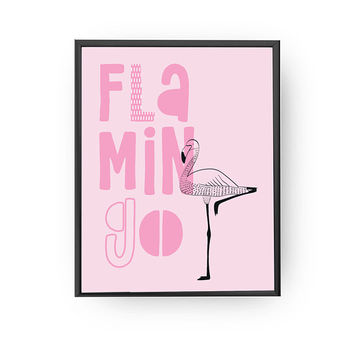 Flamingo Lettering, Animal Print, Kids Print, Baby Art, Children Learning, Nursery Art, Education Poster, Flamingo Print, Typography Poster