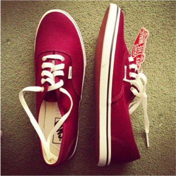 Vans Atwood Low Women's Black Canvas Skate Shoes Wine red