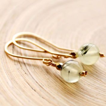 Gold filled earrings with Prehnite gemstones, Small gold filled gemstone earrings, Prehnite beads earrings, everyday earrings, spring trends