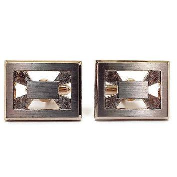 Vintage Cufflinks Hickok Gold Tone Rectangle Mid Century Hipster Jewelry Best Man Groom Gift