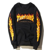 Thrasher Flame cotton skateboard big yards sweater