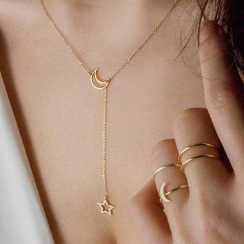 Moon & Star Lariat Necklace Dainty Thin Delicate Minimalist Slider Gold New