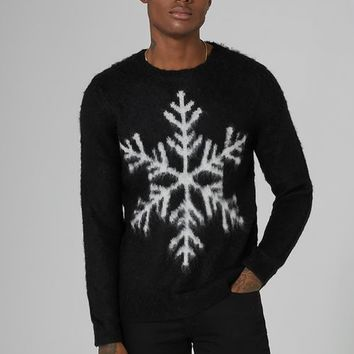 Black Mohair Snowflake Sweater - New Arrivals - New In