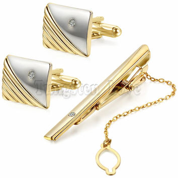 Luxury Men Plating Metal Necktie Tie Bar Clasp Tie Clip with Rhinestone Fashion Simple Gift Cuff Links for Wedding Gold / Silver