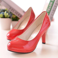 Waterproof Round-toe High Heel Shoes [9257223500]
