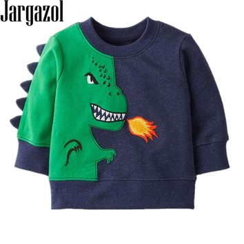 Boys T Shirt Dinosaur Embroidery Sweatshirt Autumn T-shirt Long Sleeve Camisetas Tops Vetement Fille Carters Kids Clothes 2018