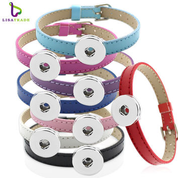 10PCS! Snap button Bracelet Bangle, 8MM PU Leather Wristband DIY Accessory Bracelet Fit Snap buttons & Slide charms LSNB12