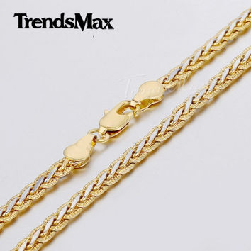 Fashion Jewelry Gift 3/4mm Womens Mens Chain Hammered Braided Wheat Link Yellow White Gold Filled Chain Necklace GN328 GN411