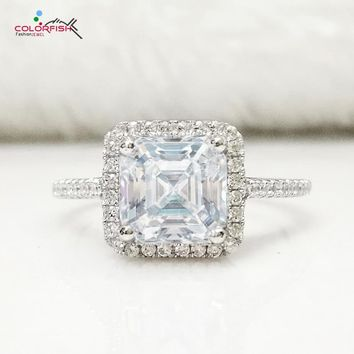 COLROFISH Luxury Halo Engagement Ring Asscher Cut 2 Carat Sona  Genuine 925 Sterling Silver Jewelry Women's Finger Wedding Ring