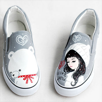 2017 Spring New Canvas Shoes Women Loafers Personalized Hand-painted Girls Bears Footwear Graffiti Shoes Zapatos Mujers