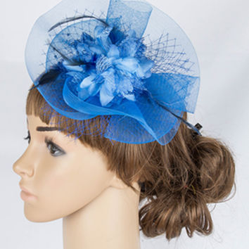 Charming multiple color sinamay fascinator headpiece colorful mesh wedding headwear church hats suit for all seasons TMYQ061