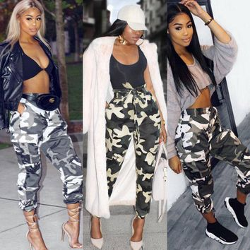 Summer New Style Fashion Women Camo Cargo Trousers Casual Pants Military Army Combat Camouflage Jeans