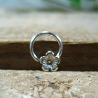Septum Ring Sterling Silver Cherry Blossom