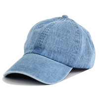 Faded Denim Baseball Cap (Unisex)