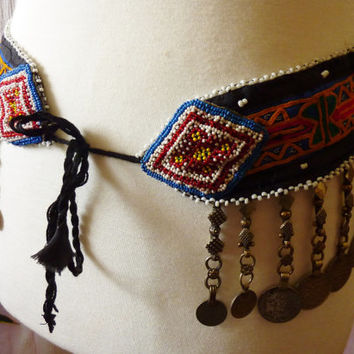 Embroidered Tribal Belt with Tribal-Coin-Pendants, Vintage
