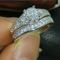 Brand New gift High Quality 10kt white gold filled white Topaz Weeding Ring R255 = 1932501124