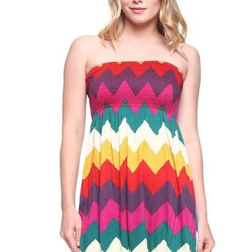 Zigzag Smocked Tube Dress