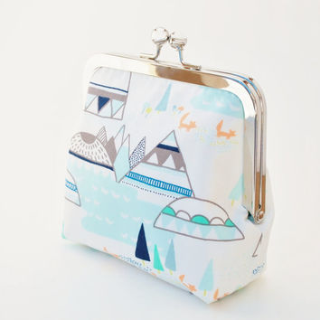 Woodland Coin Purse, Vegan Wallet, Geometric Mountain, Fox, and Tree Purse, Mint, Teal, Tangerine and White