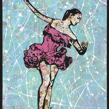 """Solo Ballerina"" Original mixed media contemporary collage painting by Amy Smith 24x36"