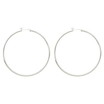 Sterling Silver Extra Large Click-Down Hoop Earrings (2mm Thick), 70mm