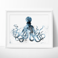 Octopus Art Watercolor Print, Watercolor Painting, Illustration, Home Decor Wall Art, Octopus Print, Watercolor Animal (55)