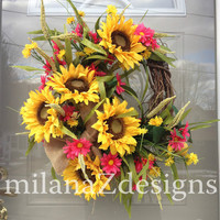 Yellow Sunflower Wreath, Pink Flowers, Easter or Spring Door Hanger, Grapevine and Burlap, Lemons and Vines, French Country Kitchen Decor