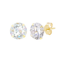 10k Yellow Gold Earrings Round Clear CZ Cubic Zirconia Studs Prong Set Pushbacks
