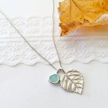 Leaf Pedant Necklace Silver Green Stone Pendant -Wedding jewelry- Bridesmaid gifts