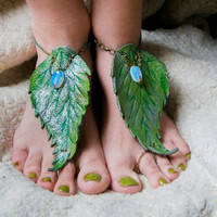 Elven barefoot sandals, forest nymph barefoot sandals, nature, boho, summer.fantasy , druid,elven anklet,rustic weding, wiccan, opalite
