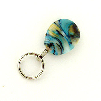 Magnetic ID Badge Holder, Magnetic Eye Glass Holder, lanyard - lampwork turquoise and blue lanyard