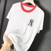 NY Summer New Fashion Bust Embroidery Letter Leisure Women Top T-Shirt White