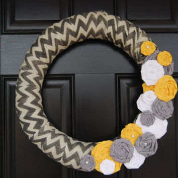 Chevron Gray and White Burlap Wreath with Fabric by SimplySoles
