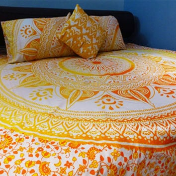 Yellow hippie duvet/doona cover + bed sheet +  2 matching pillowcases, boho bed set, mandala tapestry bedding, boho bedding, roundie mandala