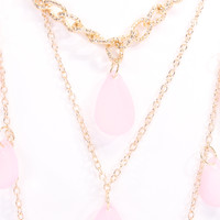 Pink Gold Cascading Teardrop Faux Gemstone Necklace
