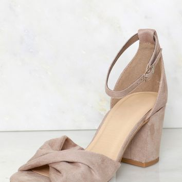 Twisted Peep Toe Platform Heels Clay